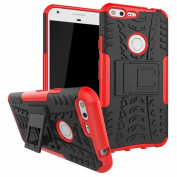 Google Pixel Case, ARSUE [Premium Rugged] Heavy Duty Armour [Shock Resistant] Dual Layer with Kickstand Case for Google Pixel 2016-Red