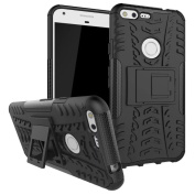 Google Pixel XL Case, ARSUE [Premium Rugged] Heavy Duty Armour [Shock Resistant] Dual Layer with Kickstand Case for Google Pixel XL 2016-Black