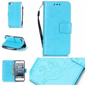 iPod Touch 5 Case,iPod Touch 6 Case , ARSUE Premium Vintage Emboss Butterfly Flower PU Leather Wallet Case with Card Slots & Stand Flip Cover for Apple iPod Touch 5 / iPod Touch 6