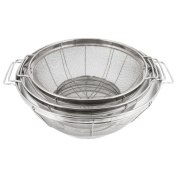 U.S. Kitchen Supply - 3 Piece Colander Set - Stainless Steel Mesh Strainer Net Baskets with Handles & Resting Base - 28cm 4.7l, 24cm 4.7l and 22cm 4.7l - Strain, Drain, Rinse, Steam or Cook