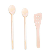Pacific Merchants - 30cm Extra Curved Spatula With Holes - 36cm Extra Heavy Large Spoon - 30cm Large Spoon