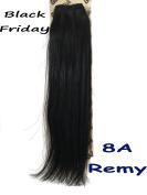 GEX 20cm - 80cm 8A 100g/Bundle Unprocessed Brazilian Virgin Remy Hair Weft Hair Extension Silky Straight Natural Black 36cm