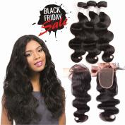 """Grace Plus Human Hair Bundles 100% Unprocessed Brazilian Virgin Remy Hair Body Wave 3 Bundles With Closure Free Part 14""""16""""18"""" 300g Plus 14"""" Lace Lace"""