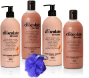 "BRUBAKER Happiness ""My Chocolate Dreams"" 5 Pcs Beauty Gift Set. Shower Gel, Body Milk Sponge - Made in GERMANY!"