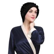 LILYSILK Night Sleep Cap Sleeping Cap Hat Pure Mulberry Silk Black One Size