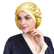 LILYSILK Night Sleep Cap Sleeping Cap Hat Pure Mulberry Silk Gold One Size