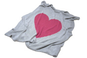 Baby Love - Baby Blanket by Pink Lemonade - 100% cotton/knitted- Light grey and pink heart