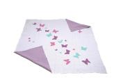 Dreamy butterflies - Reversible cotton Baby Blanket by Pink Lemonade - Light Pink