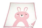 Bunny - Reversible cotton Baby Blanket by Pink Lemonade - Light blue/Dark grey