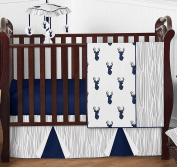 Navy Blue White and Grey Woodland Deer Print Boy Baby Bedding 4 Piece Crib Set Without Bumper