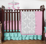 Boutique Skylar Turquoise Blue Pink Polka Dot and Grey Damask Girls Baby Bedding 4 Piece Crib Set without bumper