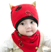 Baby Cotton Hat Bib Suits, Proboths Cute Kitty Ears Infant Toddler Baby Hat Beanies Hat Cap with Bib Dribble Saliva Towel Suits Red