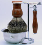 Mr®K24B22-4DR 4 IN 1 Shaving Set with Safety Razor,Bowl,Stand,Hand Crafted 100% Pure Badger Shaving brush.Great Gift Idea for Your man, father,husband,boyfriend,brother,boss,Dark red