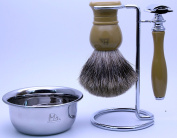 Mr®K24B22-4S 4 IN 1 Shaving Set with Safety Razor,Bowl,Stand,Hand Crafted 100% Pure Badger Shaving brush.Great Gift Idea for Your man, father,husband,boyfriend,brother,boss,stone colour