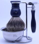 Mr® Mr Shaving Kit Gift Set for Mens with Shaving Razor Shaving Brush Stand Mug Bowl Shaving Gift Set,Dark Blue
