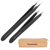 Tweezees Precision Black Coated Stainless Steel Tweezers - Professional Slant Tip & Splinter Tip Tweezer - Includes a Canvas Storage Bag! by Tweezees