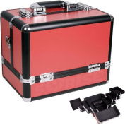 30cm Red Panel w/Black Trim Travel Cosmetic Organiser Makeup Artist Train Case by MyGift