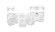 6pcs Round Mini Empty Refillable Clear Cream Jars Plastic Container for Cosmetic Cream Pot Makeup Eye Shadow Nails Powder jars for Travel and Home Use