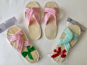 2 pairs/set Touch Me (TM) Natural Loofah Bath & Spa Massage Slippers -- Criss Cross Slippers (Large