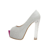 Fashion Lady Wide High Heel Shoes Peep Toe Crystal Stiletto Shoes Sandals Silver US4 strapless Shoes