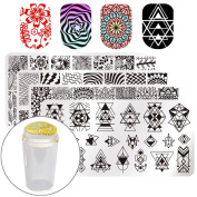 Born Pretty Nail Art Stamping Templates Kit- 4 Manicure Plate Set with 1 Polish Stamper by Salon Designs