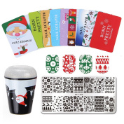 Born Pretty Christmas Nail Art Stamping Template Kit- 1 Manicure Template Plate Set with 1 Polish Stamper and 10 Scraper by Salon Designs