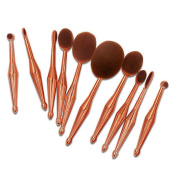 Kuulee New 10Pcs Toothbrush Oval Rose Gold Mermaid Shape Makeup Brush Foundation Powder Eyebrow Make up Brushes Beauty Tools