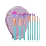Kuulee New 10Pcs/Set Mermaid Dreams Make Up Brush Set Luxury Make Up Tools Kit Powder Makeup Brushes With Shell Cosmetic Bag - Green