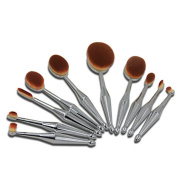 Kuulee New 10Pcs Toothbrush Oval Silver Mermaid Shape Makeup Brush Foundation Powder Eyebrow Make up Brushes Beauty Tools