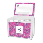 Chatsworth Nadia Recipe Box & Cards with Single Initial, K, Multicoloured