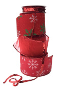 Wire Edge Christmas Ribbon in Coordinating Snowflake Patterns of Red White and Green with Sequins