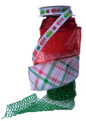 Wire Edge Christmas Ribbon in Coordinating Red and Green with Mesh in Plaid and Snowflake Pattern