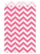 100 Pc 22cm X 28cm Pink Chevron Paper Bags by My Craft Supplies