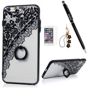 Badalink iPhone 6S/6 Plus Case (14cm ) 360 Degree Rotating Ring Holder Kickstand Shockproof TPU Bumper Frame + PC Back Shell Black Print Slim-Fit Protective Cover for iPhone 6S/6 Plus - Pattern 4