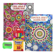 Adult Colouring Books - Stress Relief Bundle Set with Coloured Pencils and Pencil Sharpener