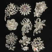 9x clear crystal rhinestone brooch use for wedding bouquet . Bridal sash , flower embellishment , wedding favour, wholesale brooch