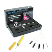 OPHIR 0.3mm Professional Double Action Airbrush Kit with Cleaning Needle & Brush