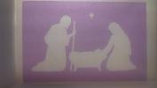 Large Nativity family & star window spray snow stencils sheet Christmas Jesus