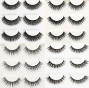 Wehous 12 Pairs 4 styles Luxurious Real Mink 3D Natural Cross Thick Long False Black Eyelashes Eye Lashes Makeup