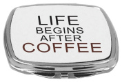 Rikki Knight Compact Mirror, Life Begins After Coffee, 150ml