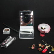 LED Folding Cosmetic Mirror, Handbag Make Up Mirror Lamps,Adjustable Led Lighted Travel Pocket Mirror, Portable Travel Handheld LED Makeup Mirror With Pouch