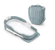 XL Cotton Sea Green Rings Snuggle Nest Surround Travel Bed, Removable 3.8cm Moulded Incline Wedge, Airy Mesh Inlay, Waterproof Foam Mattress