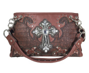 Fashion Conceal Carry Shoulder Purse Light Brown and Dark Brown with Cross