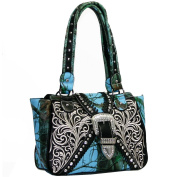 Western Concealed Embroidered Camo Buckle Handbag Purse -Blue/Cam