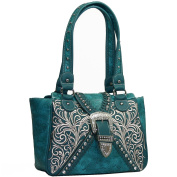 Western Concealed Embroidered Buckle Handbag Purse -Turquoise