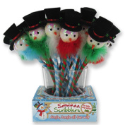Snowman Scribblers Holiday Pen w Sequined Top Hat Snowman w Fur (1 Count)