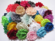 YYCRAFT (60pcs) Shabby Flowers - Chiffon Fabric Roses - 6.4cm - In Pairs-Solids Colour Mix