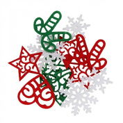 CraftbuddyUS 30pcs Mixed laser cut Felt Christmas Shape Motifs Xmas Embellishments