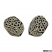 Decorative Indian Handcarved 2 Pcs Wooden Textile Brown Floral Stamp Wood Printing Block Art Crafting Tattoo