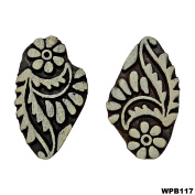 Indian Wooden Printing Block Floral Textile Stamp Hand Carved Brown Tattoo Stamp Art Decorative 2 Pcs Stamps